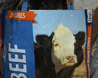 Recycled country cattle beef  feed sack w/bald face cow tote/bag/purse/shopping bag