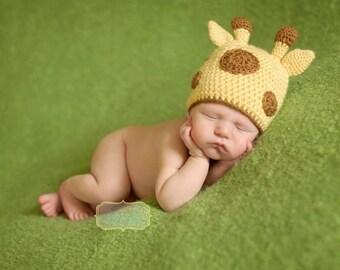 Giraffe Baby Hat – Crochet Giraffe Hat - Safari Baby Shower – Giraffe Nursery - Baby Giraffe Halloween Costume – Newborn Photo Outfit - Gift