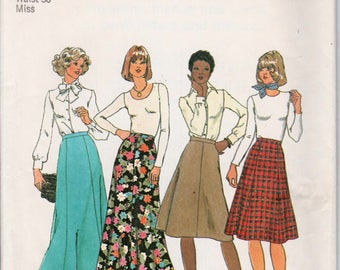 "Four Gored Skirt Retro Skirt Pattern SIMPLICITY 7308 UNCUT waist 30"" Long Skirt Pattern Maxi Skirt Pattern Evening Skirt 1970s Skirt Pattern"