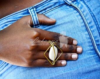 White Brass Cow Horn Brass Ring,Statement Brass Ring,African Handmade Accessories