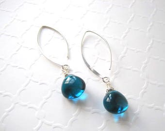 Teal Blue Quartz Earrings, Wire Wrapped Briolettes, Heart Shaped Gemstones, Sterling Silver Almond Earwires, Easter Jewelry, Gift for Her