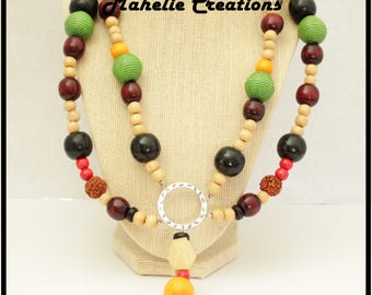 Tribal ethnic necklace, exotic jewelry, wood necklace,  multistrand statement, earthy rustic, big bold chunky, african inspired jewelry