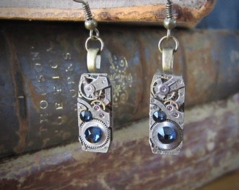 Steampunk - Deep blue  - Steampunk Earrings - Repurposed art