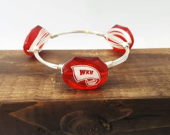 Western Kentucky University Wire wrapped Bangle, Bracelet, Silver or Gold Wire, Bourbon And Boweties Inspired