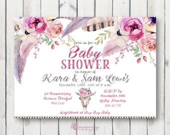 Floral Boho Feather Baby Shower Invitation - DIY Digital File (PDF or JPEG)