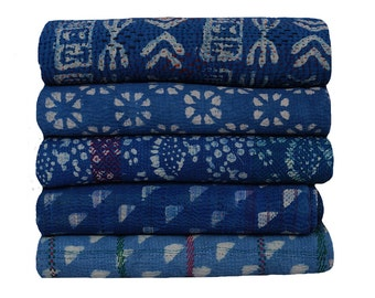 5 Piece Lot Vintage Indigo Kantha Quilt Blue Color Kantha Throw Reversible Kantha Quilt