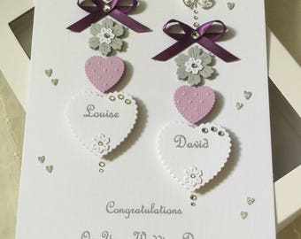 Handmade Personalised Boxed Card Wedding Engagement Anniversary Lilac and Purple