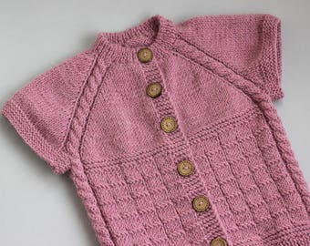 Knitting Jacket For Girl : Vest dusty pink knit baby girl sweater short sleeve