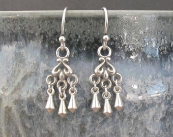 Tiny Sterling Silver Drop Earrings Dangle DJStrang Chandelier Boho