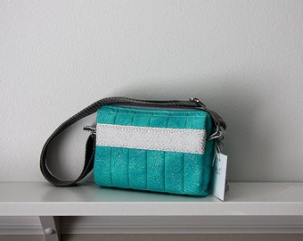 Turquoise and Gray Small Quilted Purse, Small Purse, Quilted Purse, Turquoise and Gray Purse