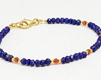 Genuine Lapis Lazuli bracelet and natural red zircon, beaded Lapis Lazuli bracelet, 925 sterling silver bracelet, gold vermeil