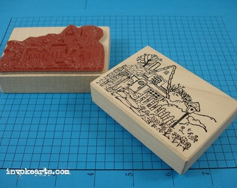 Flower Cottage Stamp / Invoke Arts Collage Rubber Stamps