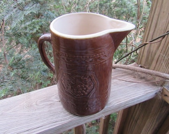 primitive stoneware pitcher brown grapes and leaves