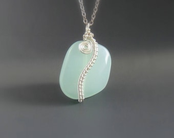 Mint green necklace, fresh green glass necklace, silver plated jewelry