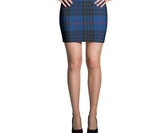 Tartan Blue Plaid Spandex Mini Skirt Nirvana Kurt Cobain Soft Grunge Punk Retro 90s Clothing Kawaii Clothing Harajuku Grunge Clothing