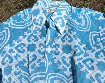 60s 70s Mr Leggs Mens Vintage Short Sleeve Button Down Shirt Hawaiian Style Psychedelic Groovy