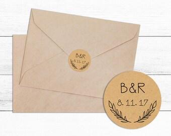 Personalised Wedding Envelope Kraft Sticker Seal- Wedding, Wedding Sticker, Envelope Seal, Bridal Shower, Favour Box