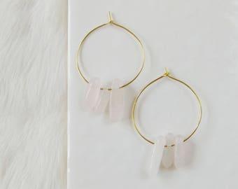 Gemstone hoop earrings, rose quartz hoops, gemstone earrings, boho jewelry