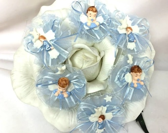 12 Light Blue or Pink Baby Boy or Girl Baptism Capia Favor Corsage Chest Favors