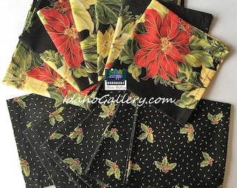 Christmas Poinsettia Fabric Napkins Set of 12 Black Red and Gold Homesteading Napkins Sustainable Reusable Go Green Recycle Free Shipping