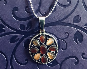Silver necklace w/ Brown pendant