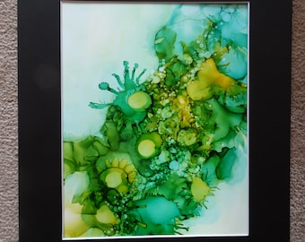 """Verde. Alcohol Ink on 9"""" X 12"""" Yupo."""
