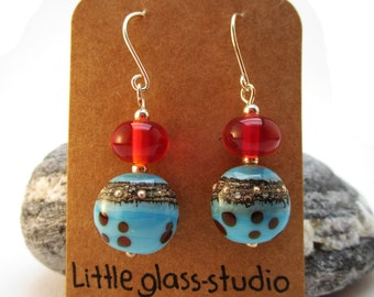 Lampwork earrings 'aquablue and red'