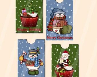 Digital Printable Christmas Gift Card Holders Set of Four