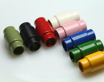 "Magnetic clasp leather cord 2 pcs multi color 19 x 10 mm 0,75"" x 1,18"" brass solid brass 6,6 mm 0.26"" MCL6 1177MC"