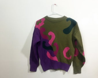 Abstract 80s Sweater // Vintage 1980s Art Sweater // Deadstock Pullover Sweater // Oversize Unisex Crew Neck Jumper Sweater