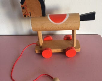 Modern Wooden Horse Pull Toy