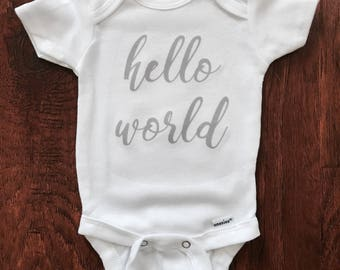 Hello World Newborn outfit. Take home outfit. White and Gray