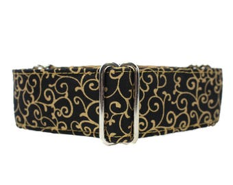 Black and Gold Martingale Collar, Swirl Martingale Collar, Christmas Martingale Collar, Dressy Martingale Collar, Black and Gold Dog Collar
