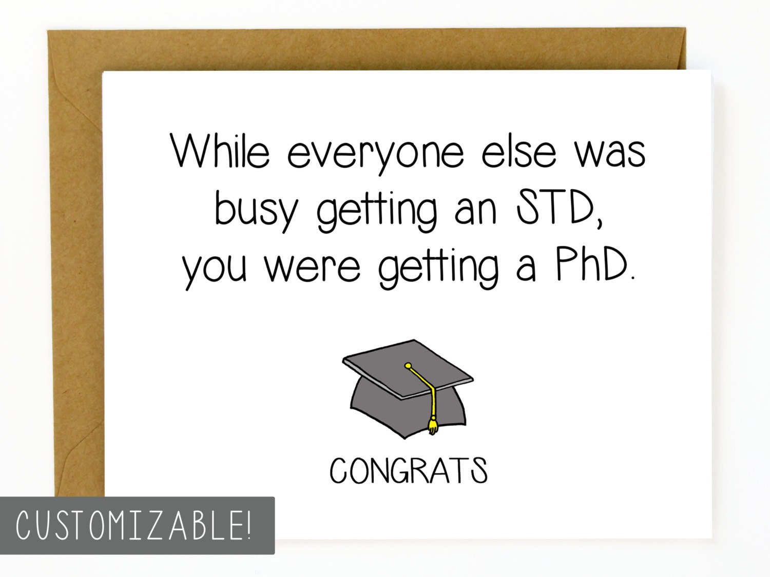 Funny graduation card phd graduation gift zoom kristyandbryce Gallery