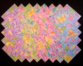 SPARKLING BUTTERFLIES 5 inch Squares, 100% cotton Prewashed,  Quilt Fabric Prints (#stk113B)
