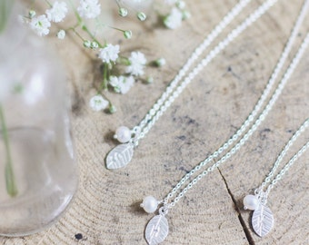 Bridesmaid necklaces, set of 1,2,3,4,5,6, personalized bridesmaid jewelry, pearl bridesmaid gift, freshwater pearl, sterling silver initial
