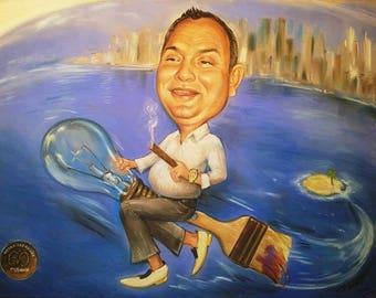 Man caricature, custom caricature, from photo, family caricature, custom portrait