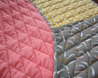Baby, Play, Mat, Quilted, Padded, Round, Nursery Decor, Coral, Grey, Activity Mat, Playmat