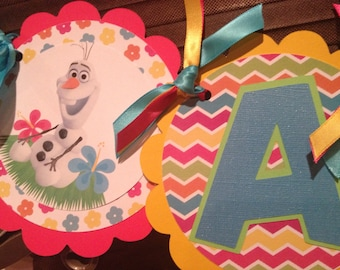 Frozen Olaf Summer Party Name Banner