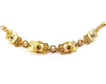 1930s Art Deco Gold Plated Pierced Links Bracelet with Sapphire Glass Cabochons