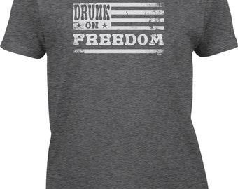 Drunk On Freedom Womens Short Sleeve -America Merica Party Friends Family Pool BBQ Drinks Beer Drunks Love Happy -DT-01396