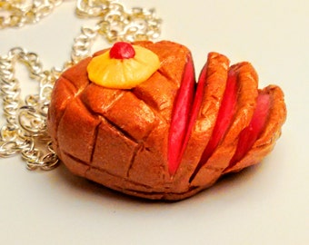 Christmas Glazed Honey Ham Necklace - Miniature Food Jewelry - Inedible Jewelry - Statement Necklace - Thanksgiving Jewelry - Clay Ham Food