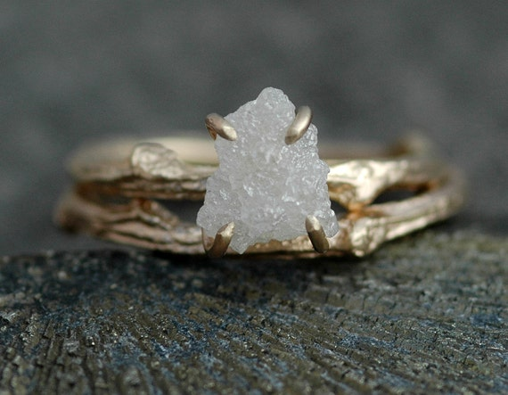 Rough Diamond and 14k Gold Branch Ring- Twig Band, Custom Made Wedding or Engagement Ring in Yellow, White, or Rose Gold