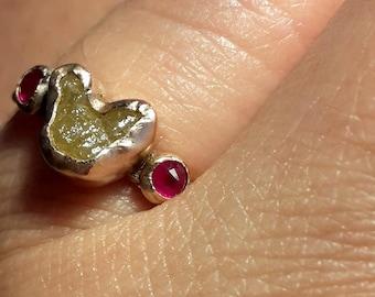 Rough Diamond Ring-Ruby Ring-14k Rose Gold Ring-Diamond Engagement Ring-Diamond Rose Gold-Rustic Gold Ring-Heart Shape - Size 6 / 6.25 / 6.5