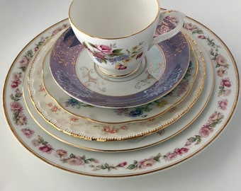 Set of One (1) Tea Cup, Saucer and Plates - Floral, Mismatched Dishes - Perfect tea time for 1 or 2, or party/shower serving!