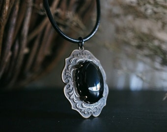 Victorian Black Onyx Necklace - Black Onyx Pendant - Black Statement Necklace - Witchy Jewelry