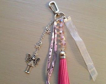 Pink tassel and cord Liberty bag charm