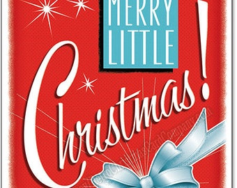 Merry Little Christmas Cards, 8 cards + color env | Vintage Style Christmas Cards | Mid Century Christmas Cards | Retro Christmas Cards