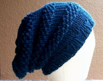 Slouch Hat beanie stocking cap or beret blue green teal hand knit with seed stitch details