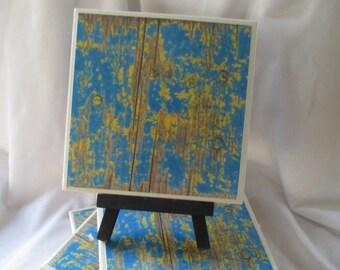 Blue distressed wood Coasters, Set of 4, Drink Coasters, hostess gift, wedding, birthday, houswarming gift, Cork bottom, Coasters
